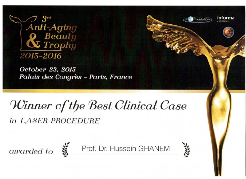 European Aesthetic laser award in Paris 2015 - 2016